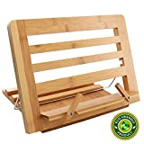 Bamboo Cook Book Stand, Adjustable Reading Book Recipe Holder Tray with Page Paper Clips, Foldable Station for Tablets, Cell Phones, Laptop Stands – Pezin & Hulin