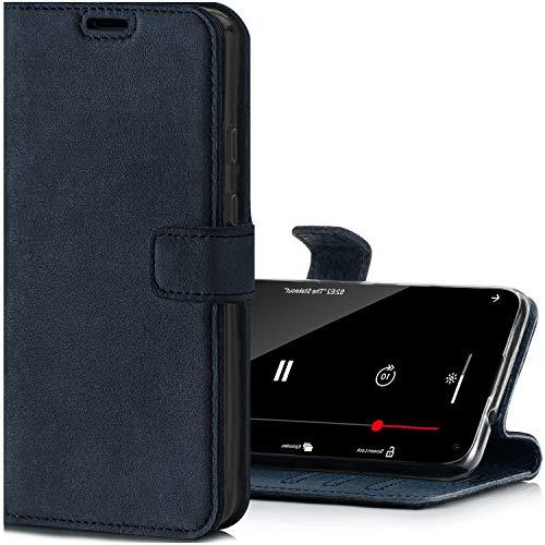 SURAZO Handyhülle für Apple iPhone 12 Pro Max – Premium Echtleder Hülle Schutzhülle mit [Standfunktion, Kartenfach, RFID Schutz] – Klapphülle Wallet case Handmade in Europe (Marineblau)