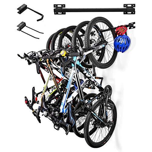 Sunix Bike Storage Rack, Bike Wall Mount Bike Hanger Bicycle Wall Storage Rack Garage Bike Rack for Home Garage Hold up to 5 Bicycles, 2 Pack