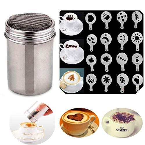 1 pz Cioccolato Shaker Coffee Duster glassa zucchero in polvere di cacao farina setaccio con 16 forme stencil e stampi per stampaggio fai da te per cappuccino e caffè