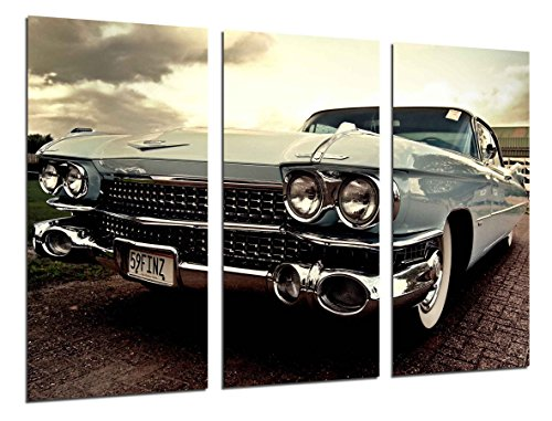 Cuadros Camara Fotográfico Coche Cadillac Antiguo, Coches Vintage Tamaño total: 97 x 62 cm XXL, Multicolor