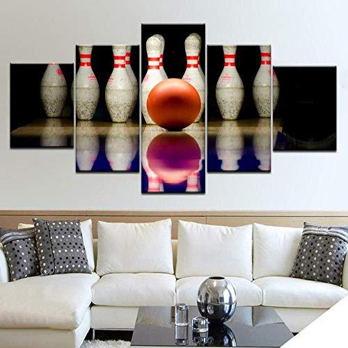 45Tdfc 5 Stück Leinwanddrucke Painting Bowlingkugel Wandkunst Poster dekor für Zuhause Büro Kunstdruck Weihnachten Geburtstag Geschenk 200x100 cm