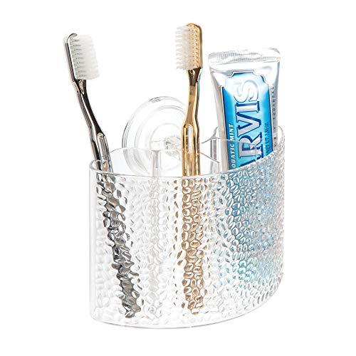 InterDesign Rain Porta cepillos dentales con ventosas, Colgador de Pared con 4 Compartimentos de plástico, Transparente