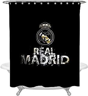 SHDU Real Madrid Football Waterproof Shower Curtain Polyester Fabric Digital Printing Bathroom Curtain with Hooks