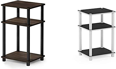 FURINNO Just 3-Tier End Table, 1-Pack, Columbia Walnut/Black & Just 3-Tier End Table, 1-Pack, White/White,11087WH(EX)/WH
