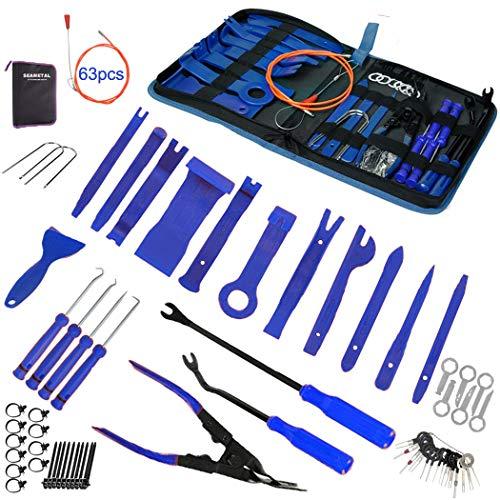 STYLINGCAR 43 Piezas Herramientas de Desmontaje para Desmontar el Salpicadero Radio de Coche y Extraer Tapicerías de Vehículos Herramientas Kits (43pcs Azul)
