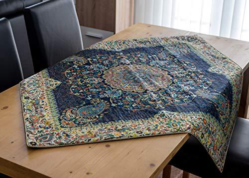 LPUK Mantel Afshari Collection Series4 Azul Oscuro 100 cm × 100 cm Aprox. Mantel de Tela Cuadrada clásico patrón Vintage
