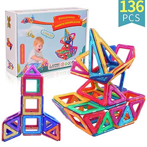 WXXW Magnetische Bausteine,Magnetspielzeug Set, Magnet Bausteine Konstruktion Blöcke DIY 3D Pädagogische Spielzeug Geburtstag Kindertag Geschenk für Kinder mit Riesenrad Auto Räder 136 Pcs