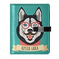 MAKIKU システム手帳 A5サイズ 6穴リング 犬 ハスキー ノート メモ帳 日記帳 ビジネス手帳 スタンダードタイプ カード収納 高級PUレザー 男女兼用