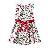 MoneycomEnfant en Bas âge bébé Enfants Filles Arc Fleurs Florales Robe de Plage Robes de Princesse vêtements Rouge(4-5 Ans)