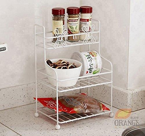 Étagère de cuisine pratique multifonction Mini cuisine salle de bain étagère salle de bains étagère de stockage multicouche trompette fer petite étagère CHUFZWJ- Kitchen Storage rack and Shelf
