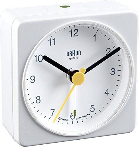 Braun wekker, kunststof, wit, 5,6 x 5,6 x 3,1 cm
