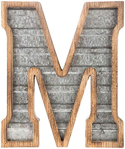 XXL 14 Galvanized Metal And Wood Industrial Home And Business Wall Letters Monogram Letter M