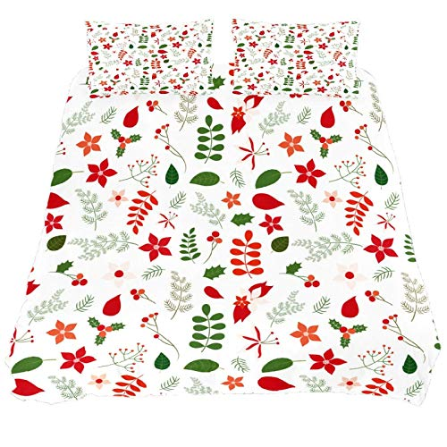 267 JlOn Microfiber Duvet Cover Set Christmas Leaf Super King Hotel Customized Bedding Duvet Cover + 2 Pillow Shams (No Comforter)
