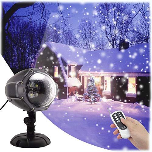 GESIMEI Proiettore Luci Natale Esterno Effetto Fiocco di Neve Proiezione Lampada Led Impermeabile Illuminazione Giardino Telecomando Rotante Faretti per Albero Casa Parete Decorazioni