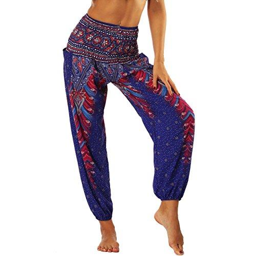Nuofengkudu Femme Harem Pantalon Sarouel Thaïlandais Hippie Baggy Léger Boho Ethnique Smockée Taille Haute avec Poches Yoga Pants Été Plage ,Violet Paon,Taille unique