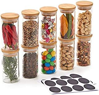 EZOWare 10 Bottles Glass Jar Set, Small Air Tight Canister Storage Containers with Natural Bamboo Lids and Chalkboard Labels for Kitchen, Bathroom, Home Decor, Party Favors (200ML)