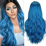 Peluca Azul Para Mujeres Ombre Sedosa Peluca de Pelo Largo Liso Línea Natural Parte Media 22 Pulgadas Peluca Sintética Para Mujeres Fiesta Halloween Disfraz