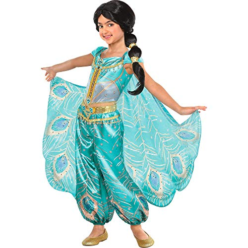 Party City Jasmine Whole New World Costume for Children, Aladdin, Small, Features Peacock Jumpsuit with Cape