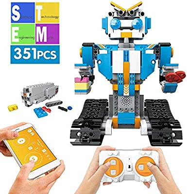 Mould King Remote Control Building Block Robot Educational Electric RC Robot Bricks STEM Toys with LED Intelligent Charging Gift for Boys Girls Age of 6,7,8,9-14 Year Old