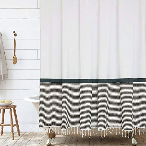 Modern Farmhouse Tassel Shower Curtain 100% Cotton Striped Fabric Shower Curtain with Tassels for Bathroom Decor, 72x72- Black and Tan
