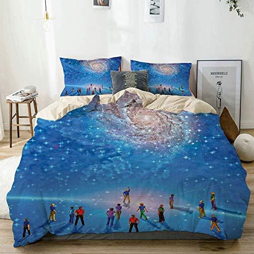 Juego de Funda nórdica Beige, Estampado Constellation Cosmic Phenomena, Juego de Ropa de Cama Decorativo de 3 Piezas con 2 Fundas de Almohada Fácil de cuidar Anti-alérgico Suave Suave