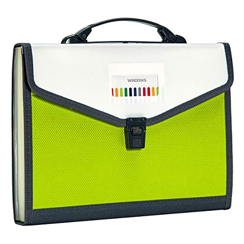FANWU 13 Pockets Expanding File Folder Accordion File with Handle & Buckle - Letter A4 Paper Size - Expandable Plastic File Folder Monthly Portable Document Organizer for Home School Office (Green)
