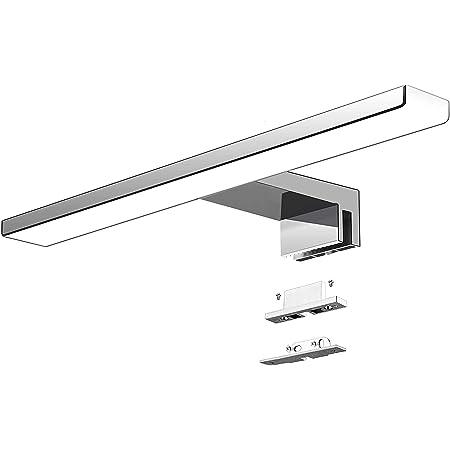 Aogled Led Lampe Miroir Salle De Bain 40 Cm 10W 820lm 230V Blanc Froid 6000K,Ip44 Classe II Slim Bain Miroir Lampe,Pince Sur Le/Miroir Cabinet/Mur D'éclairage 400mm