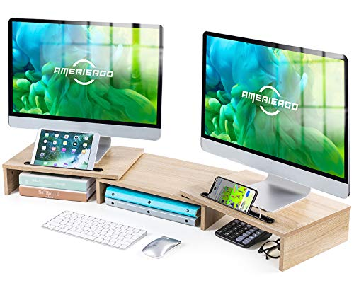 AMERIERGO Dual Monitor Stand Riser- 3 Shelf Screen Stand with Adjustable Length and Angle, 2 Extra Functional Slot Desktop Organizer Stand for PC, Computer, Laptop (Light Wood)