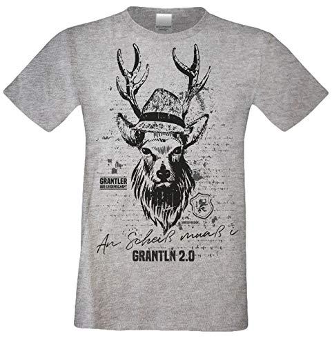 Kurzarm Trachten T-Shirt Herren : Hirsch An Scheiß muaß i - Grantln 2.0 Volksfest Oktoberfest Freizeitshirt Männer bis 5XL Farbe: dunkelgrau Gr: L