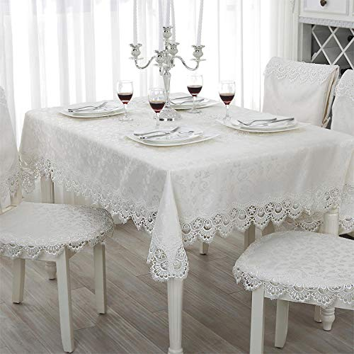 shunzianson Geborduurd kanten tafelkleed eettafel linnen tafelkleed wit kant tafelkleed ronde rechthoekige tafelkleed cover 130x180cm Kleur: wit