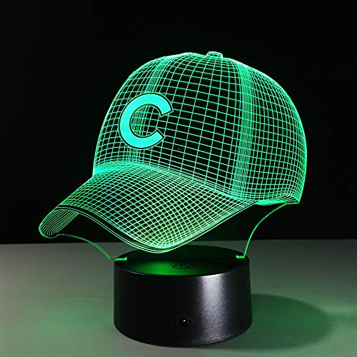 KangYD 3D Night Light Baseball Team Cap, LED Optical Illusion Lamp, A - Touch Black Base(7 Color), Gift for Boy, Table Lamp, High Quality, Crafts, Art Night Lamp, Modern Lamp