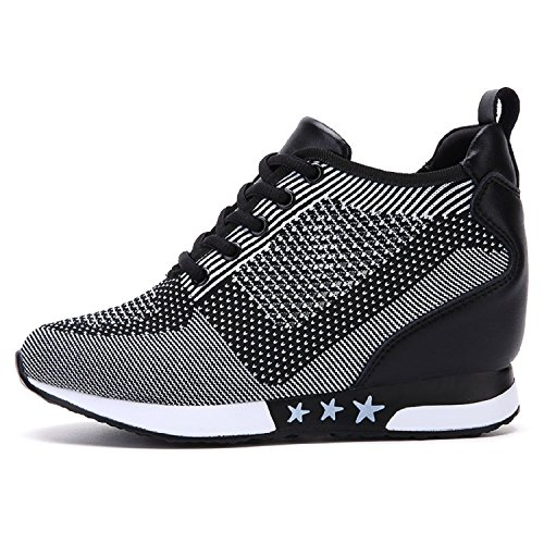 tqgold® Damen Keilabsatz Sneakers Turnschuh Wedges Sportschuhe Freizeit Schuhe Erhöht Einlegesohle 8CM (Schwarz Grau,35 EU)