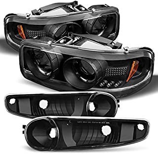 For 2001-2006 GMC Sierra/Yukon/XL/Denali Black Halo LED Projector Headlights +Black Bumper Signal Light