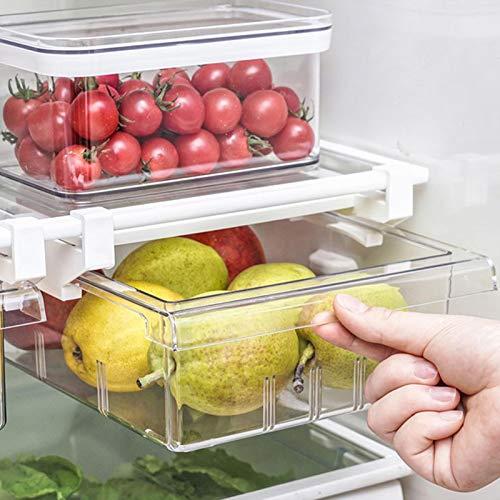 RUIXI Organizador para frigorífico con riel deslizante transparente, recipiente de almacenamiento para despensa, congelador, verduras y frutas, sin BPA
