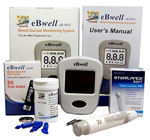 ebwell eb-w01Glucosa En Sangre Monitor Starter Pack Ideal Medidor de glucosa Medidor para...