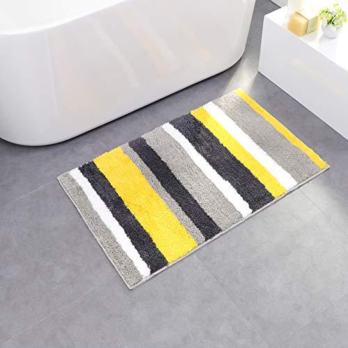 LAOSHIZI Maty kąpielowe w paski miękkie wchłaniające wodę antypoślizgowa mata łazienkowa salon wejście dywan żółty