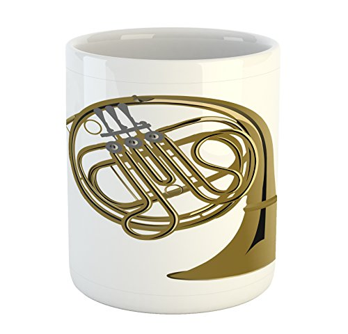 Lunarable Music Mug, French Horn Brass Instrument European Arts Pipe Jazz Orchestra Band Graphic, Ceramic Coffee Mug Cup for Water Tea Drinks, 11 oz, White Khaki