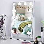 Meidom Schminkspiegel mit Licht, 360° Drehbar Hollywood Spiegel mit 3 Farbe Licht Umwandlung, 12 Dimmbare LED Spiegel mit Beleuchtung für Schlafzimmer, Wohnzimmer - Weiß (L 35.5cm * H 47.5cm)