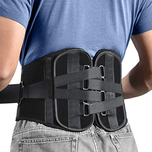 Freetoo Back Braces for Lower Back Pain Relief with 4-TIME Stronger Support, Two pieces Back Support Belt with Pulley System for Men/Women for Work,Anti-Skid Waist Support for Sciatica(S)
