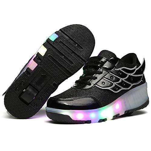 Xiaozhan Unisex Kinder Mode LED Schuhe mit 1 Rollen Light Rollschuhe, Mädchen Junge Mode LED Rollenschuhe mit Automatisch, Sportschuhe Leichte Schuhe,Schwarz,6BigKid(EU38)