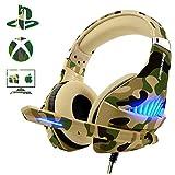 ゲーム用ヘッドセット PS4 Xbox One PC用 Beexcellent ディープバス PS4ヘッドセット ノイズ イミュニティマイク付き LEDライト付き 摩擦低減ケーブル 高快適 イヤーマフカモ