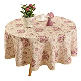 Vintage Flower Decorative 70' Round Linen Tablecloth by HIGHFLY - Printed Pattern Washable Table Cloth Dinner Kitchen Home Decor - Multi Colors & Sizes