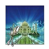 N\A Juego de 6 manteles Individuales Cuadrados para decoración de Mesa de Cocina de Comedor, tapetes de Mesa con Estampado Fantasy Taj Mahal Lavables