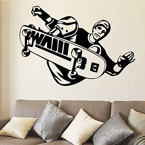 SLQUIET DIY Sport Aufkleber Skateboarder Stunt Trick Flip Jump Skateboard Aufkleber Sport Art Decals für Tenns Home Decoration Aufkleber Grau L 43cm X 29cm