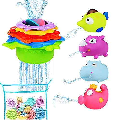 Baby Badespielzeug ab 1 Jahre,11 Stück Badespielzeug für Kleinkinder,Spritztiere,Badespielzeug Boot,schwimmendes Badespielzeug,Buntes Badespielzeug,Badewannenspielzeug Kinder,Badewannenspielzeug
