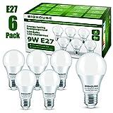 lampadine led e27, 9watt pari ad alogene da 60watt, 800lm, luce bianca calda 3000k gradi, confezione da 6