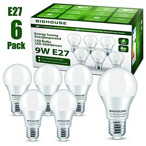 Ampoule LED E27, 9W équivalent Ampoule Halogène 60W, 800LM, Blanc Chaud 3000K, A60 Culot Edison à vis, Lot de 6