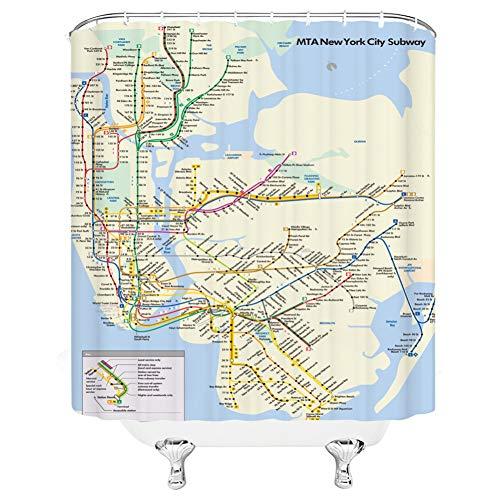 ZSYNB duschvorhang transparent City Subway Line Moderne Einfachheit Duschvorhänge Badezimmer Dekor Wasserdichtes Polyester Stoff Vorhang Set