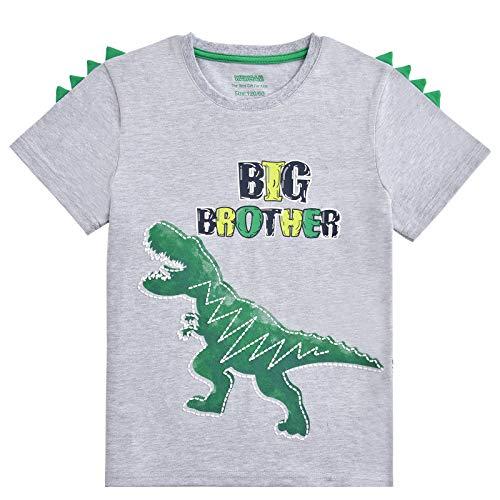 WAWSAM Camiseta de Hermano Mayor - Dinosaurio Trajes de Hermanos para Niñito Niños (Gris, 5-6 años)